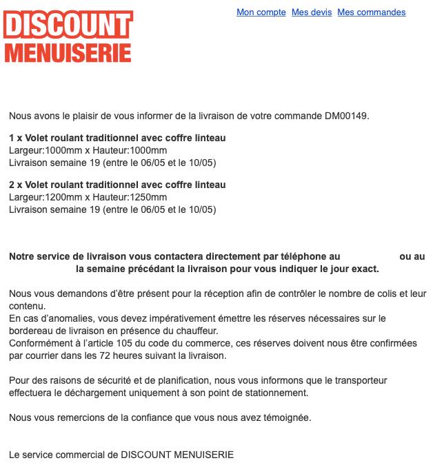 Exemple de mail d'information de livraison