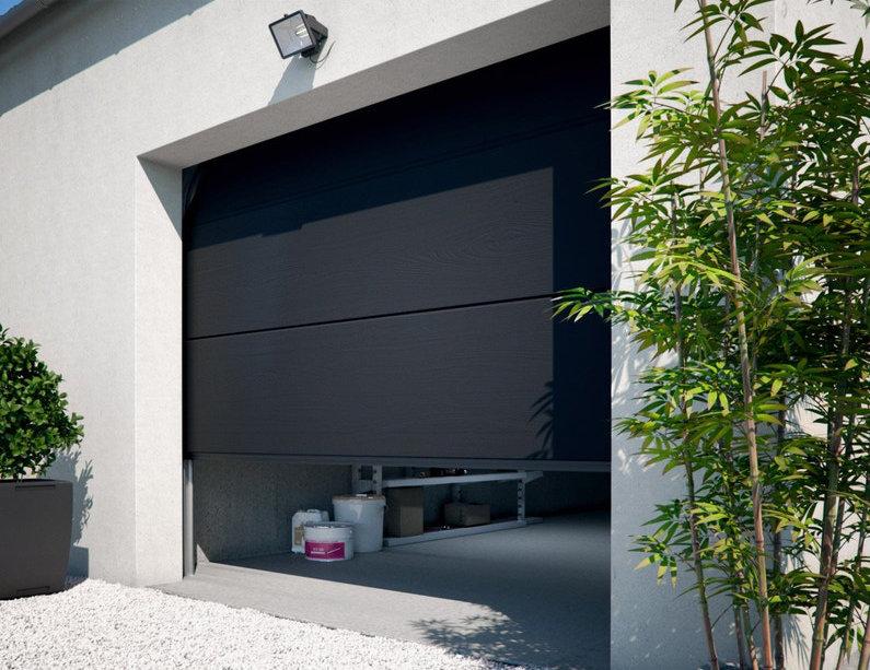 Porte de garage sectionnelle avec panneaux acier gris anthracite